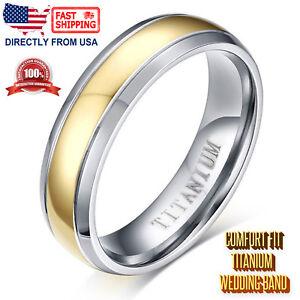 Men's Gold Color Titanium Wedding Band 6mm Polish Finish Ring, Comfort Fit