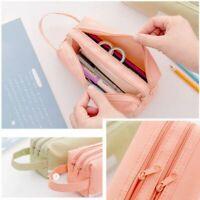 School Students Pencil Case Storage Box Womens Makeup Pouch Bag Zip Canva Wallet