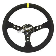 350mm Black Suede Leather Corsica Style Deep Dish Car Rally Steering Wheel US
