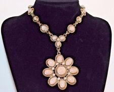 NEW EXPRESS ELEGANT STONE FLOWER NECKLACE: SILVER/PINK