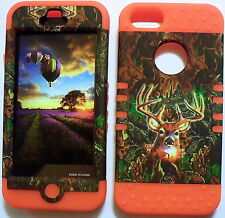 Camo Deer on Orange Skin Hybrid for Apple iPhone 5 Hard Impact Cover Case