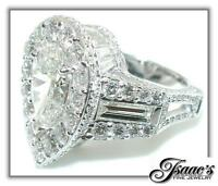 10.5 CT Large PEAR Diamond CROWN  Engagement RING 18KW