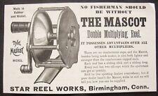 Original 1890 Antique Mascot Fishing Reel Vtg Print Ad~Star Works,Birmingham, Ct