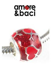 AMORE & BACI 925 sterling silver & enamel RED LOVE HEART charm bead