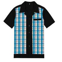 Mens Short Sleeve Retro Bowling Plaid Shirt Cotton Rockabilly Mens Clothes