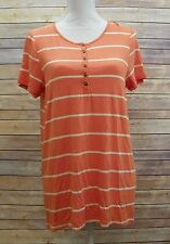 Bass Womens Short Sleeve Hi Low Top Button Detail Orange Cream Stripes M Jm920