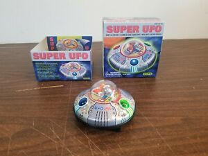Vintage Schylling Metal Toy Bump and Go SUPER UFO Used in Original Box