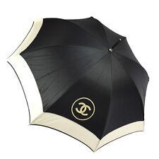 Authentic CHANEL Quilted CC Logos Umbrella Black White Nylon Vintage AK13050