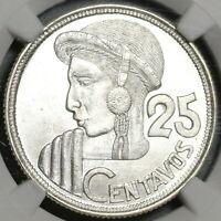 1950 NGC MS 65 Guatemala 25 Centavos Maya Girl Silver Coin (20060302C)