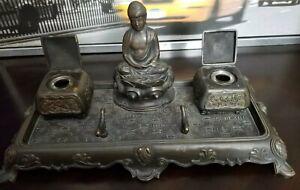 LARGE Tiffany Buddha Inkwell Antique Marked Tiffany Numbered 211/204