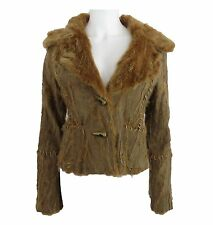 AnnaRita N Brown Patchwork Fur with Bone Toggle Closure Jacket Size 42