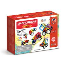 Genuine Magformers WOW Set - Magnetic construction with WHEELS & BUILDING cards