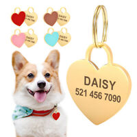 Cute Heart Shape Pet Cat Dog Tags Personalised Disc Disk ID Collar Tag Engraved