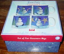 Stoneware Mugs Set Of Four Snow Pals Oneida Zulauf Designs Holiday NIB