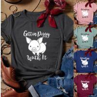 Funny T-Shirts Pig Print Summer Women Tops Short Sleeve O Neck Casual Tee