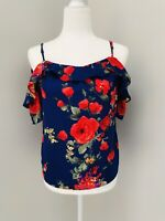 STITCH FIX Skies Are Blue Cold-Shoulder Strappy Ruffle Top Floral Red XSP EUC