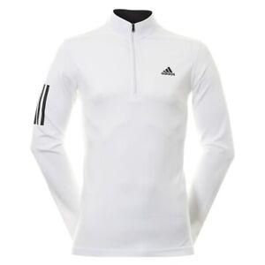 NEW Mens Adidas 3-Stripe Layering 1/4 Zip Pullover White/Black - Choose Size!