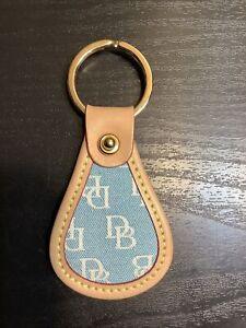 Dooney&Bourke cream leather trim blue monogram canvas keychain fob
