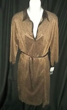 NWT Womens Max Studio Dress Knit Retro Print Stretch Brown Size L Large