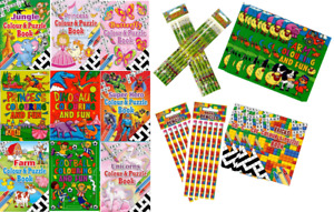 12 x Colouring Puzzle Books & 12 x Pencils with Eraser Tip - Party Bag Filler