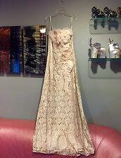 Teri Jon Strapless Lace Rosette Evening Gown Cocktail Maxi Dress Silk Org. SZ 10