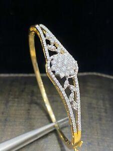 Pave 1.36 Cts Round Brilliant Cut Natural Diamonds Bangle Bracelet In 14K Gold