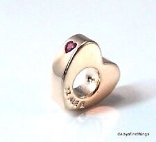 NEW/TAG AUTHENTIC PANDORA CHARM ROSE™ 2 HEARTS SPACER RED CZ  786559CZR