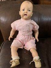 Rare 18� Early American Character Vintage Rubber & Cloth Doll Baby