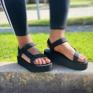 Womens Casual Open Toe Platforms Sandals Summer Beach Ankle Strap Shoes Fashion
