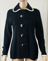 Vintage St John Santana Knit Jacket Black Cream Trim Black Buttons