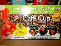 New 4 Deluxe Pack Cafe Cup Gold Mesh Reusable Single Pod Keurig Coffee Maker box