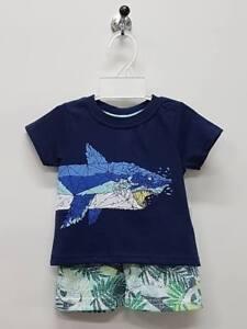Boy PJ Shark Size 0 1 2 2pcs Set Kid Summer T-Shirt Short Top Outfits TV162 Navy