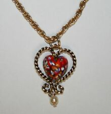 Dangling Signed Sarah Cov 21 Inch Gold Tn. Chain Necklace Red Blue Heart Pendant