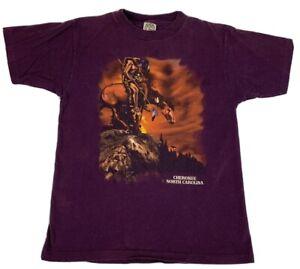 VTG Youth T Shirt Cherokee North Carolina Native American Single Stitch USA Sz M