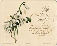 1890-1899 Snowdrops on New Year Card, Hildesheimer & Faulkner, Uk, Germany