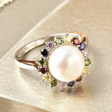 TJC White Pearl Halo Ring Silver Anniversary Gift Cubic Zirconia 0.64ct