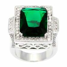 17.25CT Cushion cut Green Emerald Cubic Zirconia Cocktail 925 Silver Ring