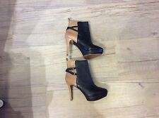 ZARA Camel & Black Leather Platform Ankle boots UK 6. EU 39