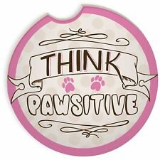 Think Pawsitive Car Coaster New Paw Prints Auto Drink Holder Dog Cat Pink