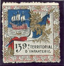 WWWI / ERINNOPHILIE TIMBRE FRANCE MILITAIRE / 139 ° TERRITORIAL D'INFANTERIE