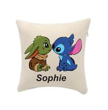 Baby Yoda & Stitch cushion cover personalise with any name(cover only) 20cmx20cm