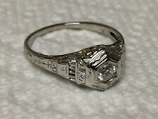 Vintage 18K White Gold FIligree Diamond Solitaire Engagement Ring