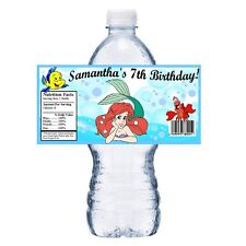 20 LITTLE MERMAID ARIEL PERSONALIZED BIRTHDAY PARTY FAVORS ~ WATER BOTTLE LABELS