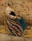 "Max Liebermann : ""An Old Woman with Cat"" (1878) — Giclee Fine Art Print"