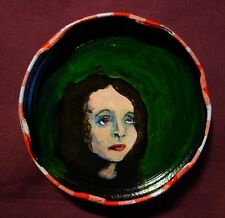 JOYCE CAROL OATES Jam Jar Lid Portrait, New Orleans Outsider Folk Art PETER ORR