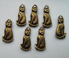 15pcs bronze plated cat charm pendant 21x10 mm