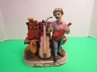 """Vintage Ceramic Musician Figurine Violins Tuba Trumpet Saxophone 6"""" Tall"""
