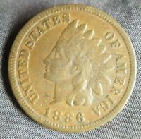 1886 Indian Head Cent 1c Type 1 One Penny Couple Nick's Very Fine VF or XF EF