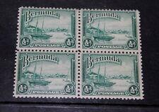 BERMUDA 1936 1/2D GREEN ISSUE IN  BLOCK OF 4 FINE M/N/H