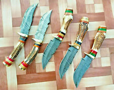LOT OF 5 CUSTOM HAND FORGED DAMASCUS STEEL HUNTING KNIFE / STAG & BRASS HANDLE